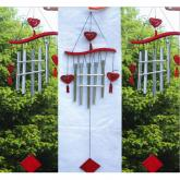 yazi Windbell Wind Chime Collection Red Wood 5 Metallic Tubes Heart Gift