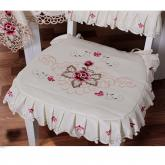 yazi Rose Flower Embroidered Fabric Cutwork Chair Pad,Beige