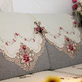yazi Rose Flower Embroidered Fabric Cutwork Sofa Backrest Towel, 2-Seat,63x31 Inches