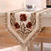 yazi Holiday Retro Peony Flower Embroidered Cutwork Table Runner 16x79 Inches