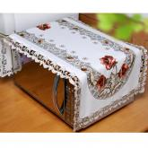 yazi Peony Flower Embroidered Fabric Cutwork Rectangle Tablecloth,24x47 Inches