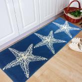 yazi Non-Slip Doormat Kitchen Rugs Mediterranean style With White Starfish 45x115cm(17.7x45.3inch)