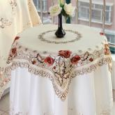 yazi Peony Flower Embroidered Beige Cutwork Holiday Square Tablecloth,33 Inches