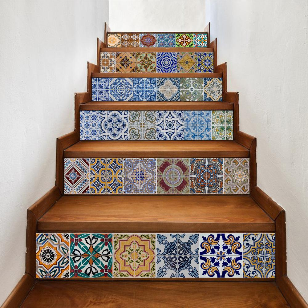Yazi peel and stick tile backsplash stair riser decals diy tile decals mexican traditional talavera waterproof home decor staircase decal stair mural decals