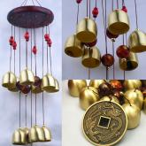 yazi Wood 10 Bells Copper Wind Chimes Outdoor Living Garden Noisemaker Valentine's Day