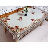 yazi Peony Flower Embroidery Fabric Cutwork Rectangle Tablecloth,51x69 Inches