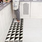 yazi Non-Slip Doormat Kitchen Rugs Black&White Style Triangle Cube 40x115cm (15.7x45.3inch)