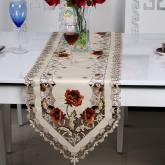 yazi Vintage Peony Flower Embroidered Cutwork Table Runner,16x59 Inches