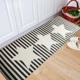 yazi Non-Slip Doormat Kitchen Rugs Black&White Style Strips With Stars 40x115cm (15.7x45.3inch)