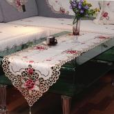 yazi Vintage Rose Flower Embroidered Cutwork Rectangular Table Runner,16x59 Inches