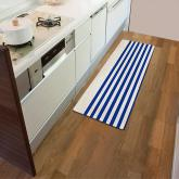 yazi Non-Slip Doormat Kitchen Rugs Mediterranean style 17.3x45.3inch, Blue Stripe