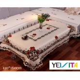 yazi Vintage Peony Flower Embroidered Fabric Cutwork Rectangular Tablecloth,43x63 Inches Thanksgiving Gift