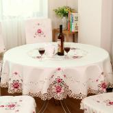 yazi Rose Flower Embroidered Cutwork Wedding Round Christmas and Thanksgiving Tablecloth,67 Inches