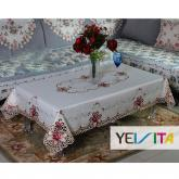 yazi Rose Flower Embroidered Cutwork Birthday Party Rectangle Christmas and Thanksgiving Tablecloth 43x63 Inches