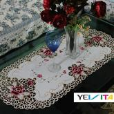 yazi Rose Flower Embroidered Tea Table Cover Oval Fabric Doilies 16x33 Inches