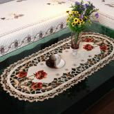 yazi Peony Flower Embroidered Fabric Cutwork Oval Tablecloth,16x33 Inches