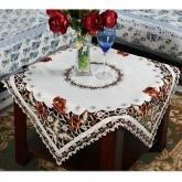 yazi Vintage Floral Embroidered Fabric Cutwork Holiday Square Tablecloth,51 Inches