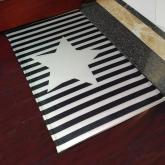 yazi Non-Slip Doormat Kitchen Rugs Black&White Style Mat Strips With Stars 40x60cm (15.7x23.6inch)