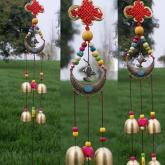 yazi Fish Wind Chimes Chinese Knot 5 Bells Copper for Outdoor Balcony Decoration Christmas Gift