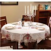 yazi Rose Flower Embroidered Fabric Cutwork Round Tablecloth,87 Inches
