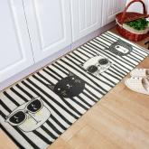 yazi Non-Slip Doormat Kitchen Rugs Black&White Style Cool Cat 40x115cm (15.7x45.3inch)