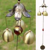 yazi Wind Chimes Bronze Flower Petal 3 Bells Outdoor