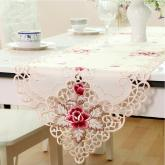yazi Vintage Rose Flower Embroidered Cutwork Rectangular Table Runner,16x78 Inches
