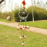 yazi Exotic Outdoor Wind Chimes Elephant Copper 6 Bells Chinese Knot Turquoise Beads Wind Noisemaker