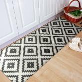 yazi Non-Slip Doormat Kitchen Rugs Black&White Style Mosaic Cube 40x115cm (15.7x45.3inch)