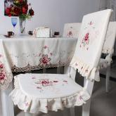 yazi Rose Flower Embroidered Fabric Cutwork Dining Chair Pad Seat Cover,Set of 2