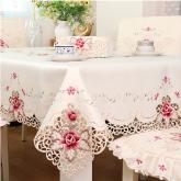 yazi Anniversary Party Decor Rose Flower Embroidered Cutwork Rectangle Thanksgiving Tablecloth,69x106 Inches