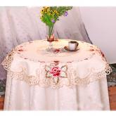 yazi Rose Flower Embroidered Wedding Party Round Tablecloth 33 Inches Valentine's Day Gift