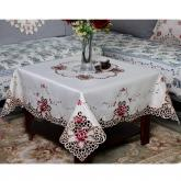yazi Rose Flower Embroidered Wedding Party Square Christmas and Thanksgiving Tablecloth 43 Inch
