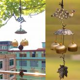 yazi Antique Peacock Copper 3 Bells Lucky Wind Chimes Outdoor Home Decoration Valentine's Day Gift