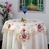 yazi Rose Flower Embroidered Cutwork Square Christmas and Thanksgiving Tablecloth Wedding Table Decoration 51 Inches