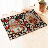 yazi Non-Slip Doormat Kitchen Rugs 40x60cm (15.7x23.6inch, Cool Glass Cat)