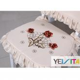 yazi Peony Flower Embroidered Cutwork Office Dining Room Chair Pad,Beige
