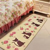 yazi Rose Kitty Fabric Non-slip Kitchen Mat Runner,54x19 Inches