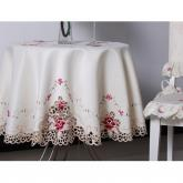 yazi Rose Flower Embroidered Dinner Party Round Tablecloth 59 Inches Valentine's Day Gift