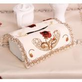 yazi Red Peony Flower Embroidered Rectangle Fabric Cutwork Tissue Box Cover