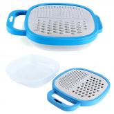 yazi 2 in 1 Stainless Steel Cheese / Vegetable Grater with Plastic Container Blue