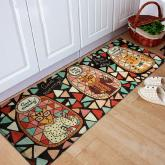 yazi Non-Slip Doormat Kitchen Rugs Floormat 45x115cm (17.7x45.3inch, Colorful Brick Glass Cat)
