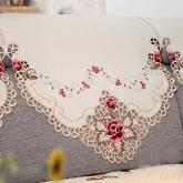 yazi Rose Flower Embroidered Cutwork Sofa Slipcover Chair Backrest Towel, 1-Seat,31x31 Inches