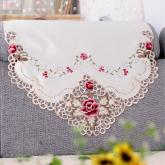 yazi Rose Flower Embroidered Fabric Cutwork Sofa Backrest Towel, 4-Seat,94x31 Inches