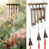 yazi Red Tassel Wind Chimes 10 Tubes 3 Bronze Bells Outdoor Living Wind Noisemaker Gift