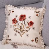 yazi Peony Flower Embroidered Cutwork Decorative Throw Pillow Case Cushion Cover 18 Inch
