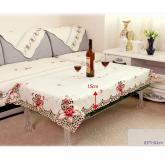 yazi Rose Flower Embroidered Fabric Cutwork Rectangle Tablecloth 33x59 Inches Valentine's Day Gift