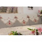 yazi Rose Flower Embroidered Fabric Cutwork Sofa Backrest Towel, 3-Seat,94x31 Inches
