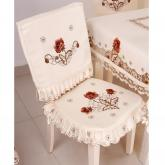 yazi Peony Flower Embroidered Fabric Cutwork Dining Chair Pad Seat Cover,Set of 2