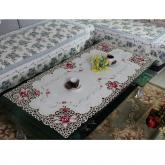yazi Rose Flower Embroidered New Year Party Rectangle Tablecloth 24x71 Inches Valentine's Day Gift